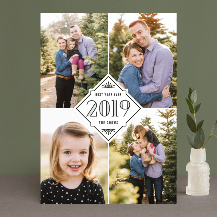 """Quartet"" - New Year Photo Cards in Slate by Hooray Creative."
