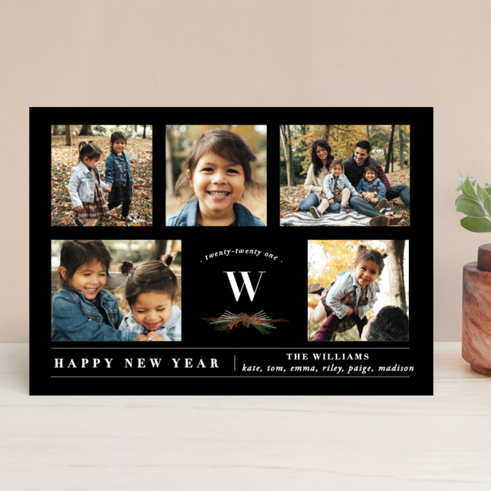 """""""Five Photos"""" - New Year Photo Cards in Tuxedo by Susan Brown."""