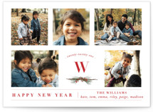 This is a red new year photo card by Susan Brown called Five Photos with standard printing on smooth signature in standard.
