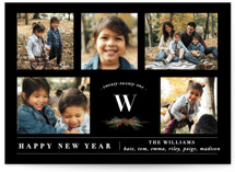 This is a black new year photo card by Susan Brown called Five Photos with standard printing on smooth signature in standard.