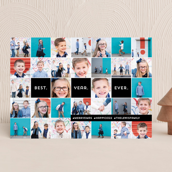 """Insta-grid"" - New Year Photo Cards in Ebony by Dawn Jasper."