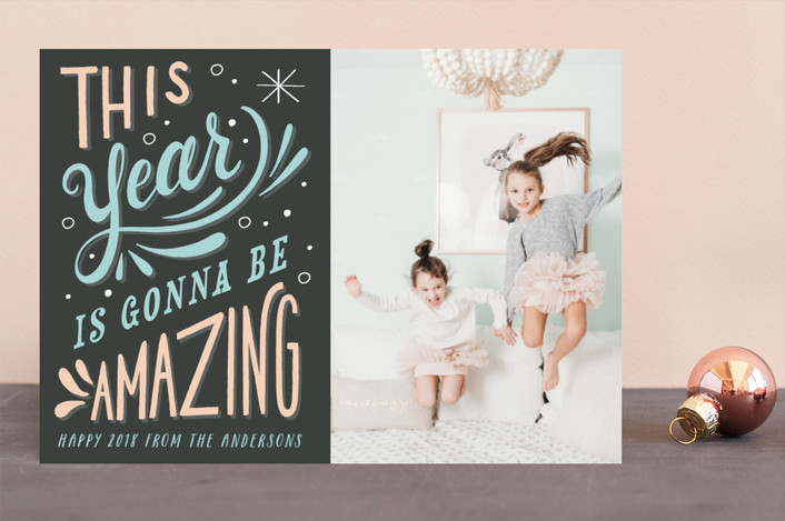 """Amazing"" - Modern New Year Photo Cards in Charcoal by Hannah Williams."