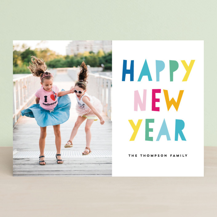 """So Bright and Cheerful"" - Modern New Year Photo Cards in Winter Sky by AK Graphics."