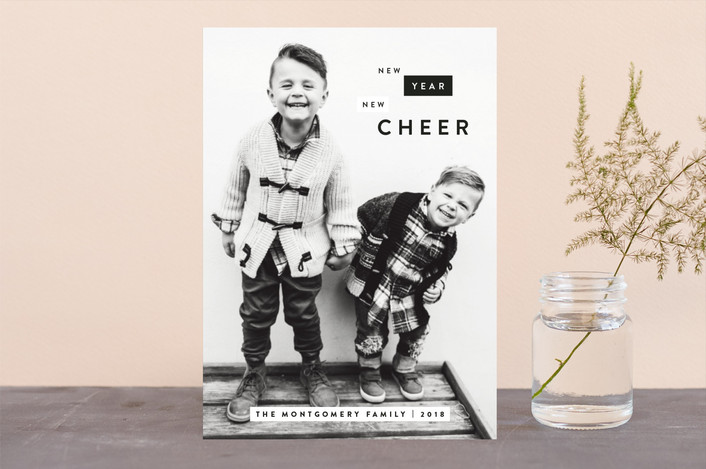 """Boxes of Cheer"" - Modern New Year Photo Cards in Charcoal by JoAnn Jinks."