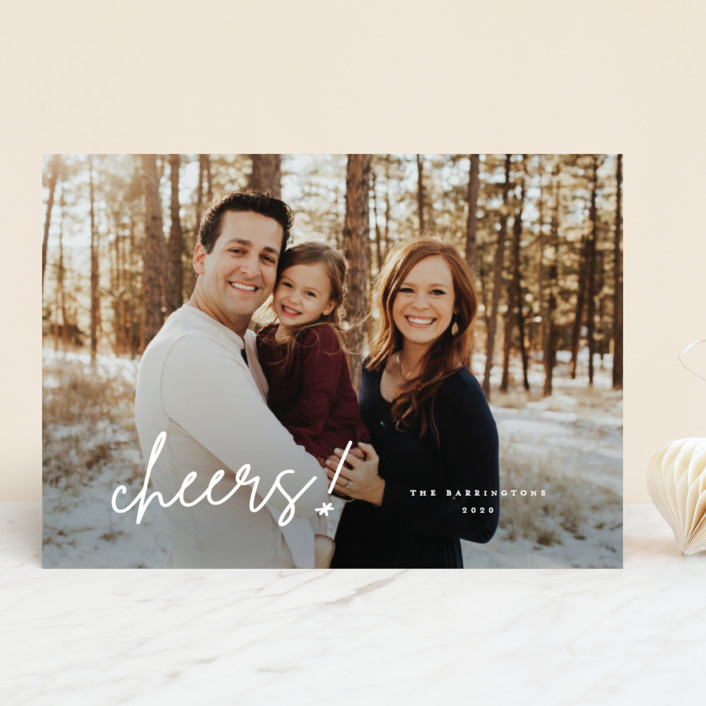 """Toast"" - New Year Photo Cards in Snow by Lauren Chism."