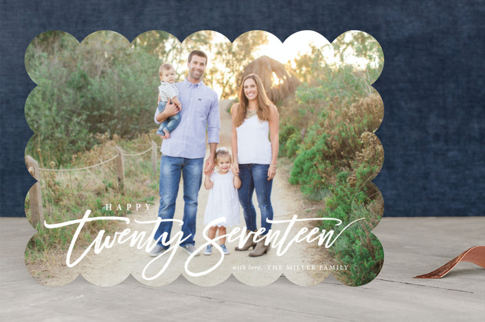 """""""Happy Twenty Seventeen"""" - Full-Bleed Photo New Year Photo Cards in Snow by Itsy Belle Studio."""