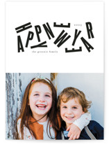 This is a black new year photo card by Up Up Creative called Ajumble with standard printing on recycled in standard.