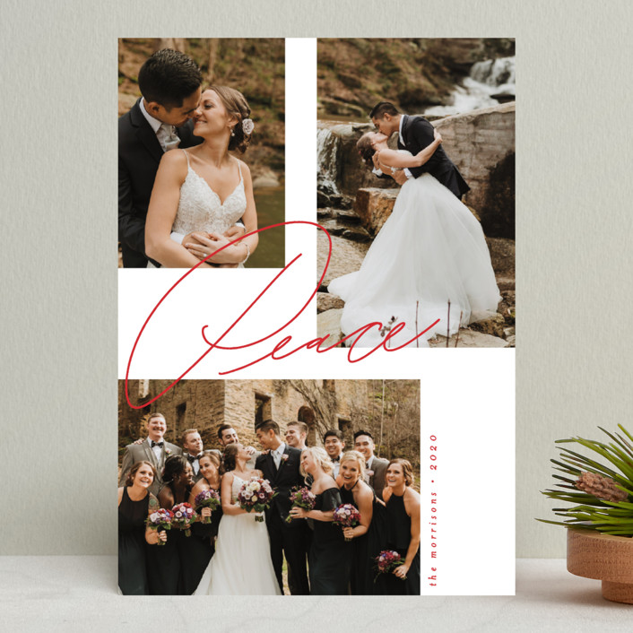 """""""Magazine Script"""" - New Year Photo Cards in Berry by Everett Paper Goods."""