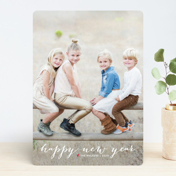 """Simple Joy"" - Traditional, Elegant New Year Photo Cards in Snowfall by Fig and Cotton."