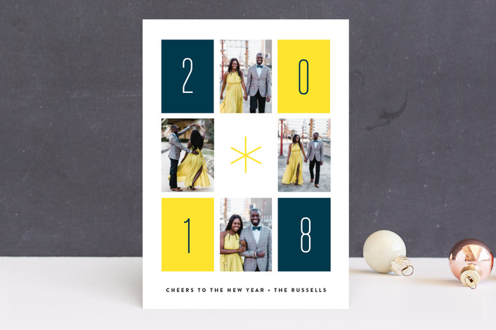 """Retro Rectangles"" - Modern New Year Photo Cards in Sunshine by Erica Krystek."