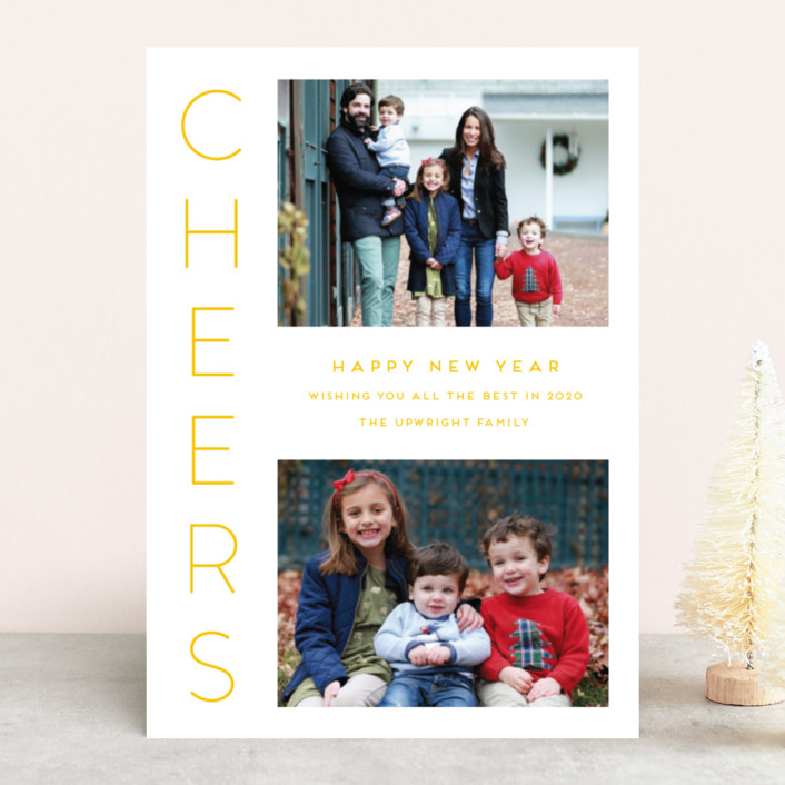 """""""Cheerful"""" - New Year Photo Cards in Onyx by Kaydi Bishop."""