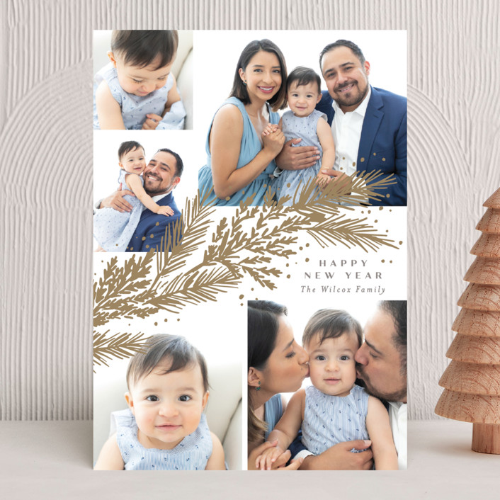 """""""Garland"""" - New Year Photo Cards in Snow by Rebecca Durflinger."""