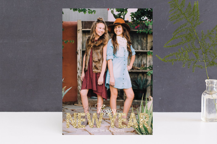 """Bold Sparkle"" - New Year Photo Cards in Gold by Jen Soll."
