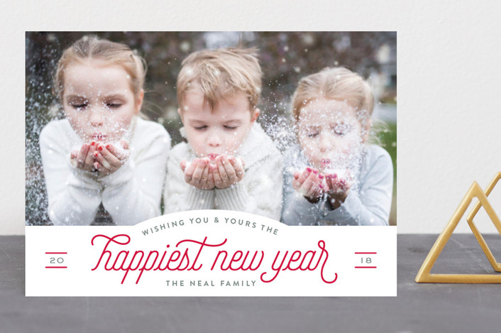 """""""Holiday Pep"""" - Vintage New Year Photo Cards in Poinsettia by Hooray Creative."""
