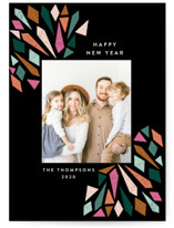 This is a black new year photo card by Ashlee Townsend called Sketched Burst with standard printing on signature in standard.