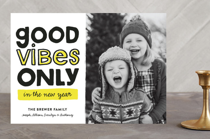"""Good Vibes Only"" - Modern, Funny New Year Photo Cards in Highlighter by Pistols."