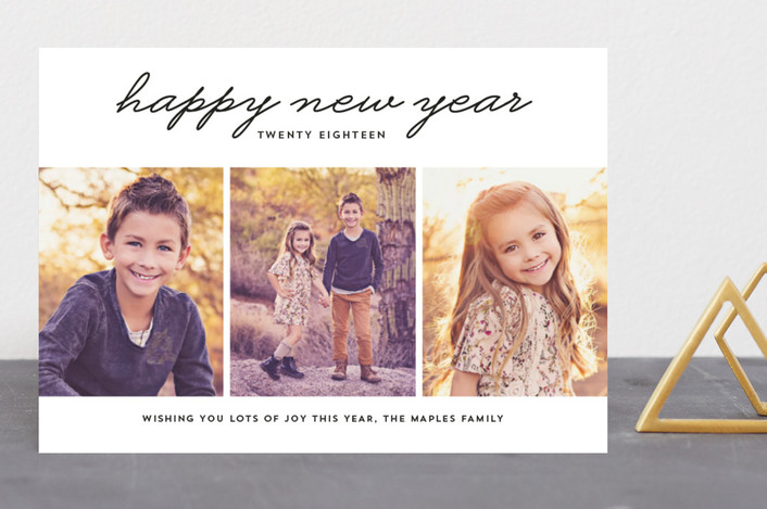 """New Year 3 Photo"" - New Year Photo Cards in Ink by Erika Firm."