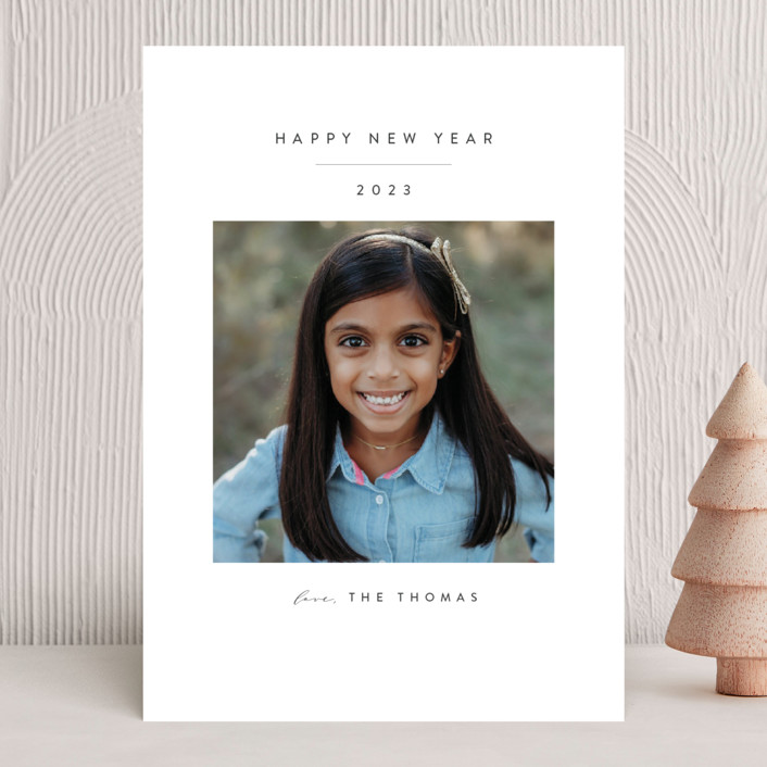 """Simple Beauty"" - New Year Photo Cards in Pewter by Roopali."