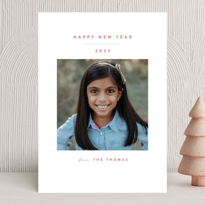 """""""Simple Beauty"""" - New Year Photo Cards in Scarlet by Roopali."""