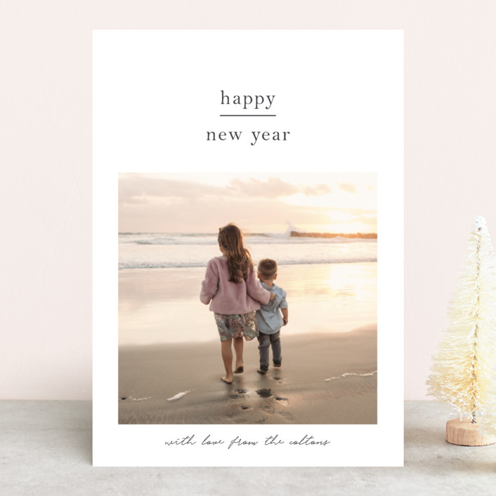 minimalist new year new year photo cards in charcoal by blustery august