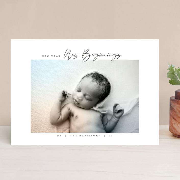 """Joyful Beginnings"" - New Year Photo Cards in Mocha by Heather Cairl."