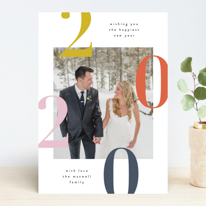"""""""Modern and Minimal"""" - New Year Photo Cards in Butterscotch by Kelly Schmidt."""