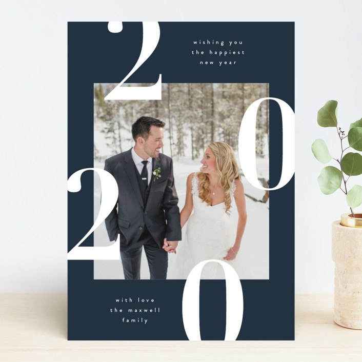 """Modern and Minimal"" - New Year Photo Cards in Navy by Kelly Schmidt."