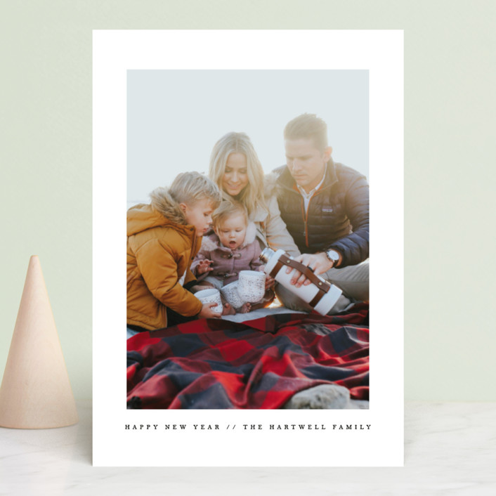 """Simple"" - New Year Photo Cards in Cantaloupe by Angela Thompson."
