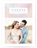 This is a orange new year photo card by Hooray Creative called Artistic Cheers with standard printing on smooth signature in standard.