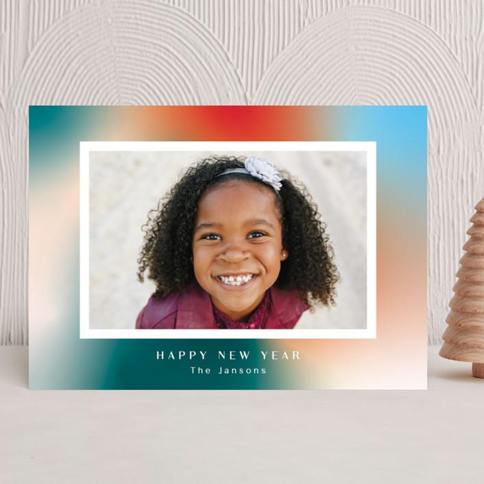 """""""Glowy new year"""" - New Year Photo Cards in Celestial by Yaling Hou Suzuki."""