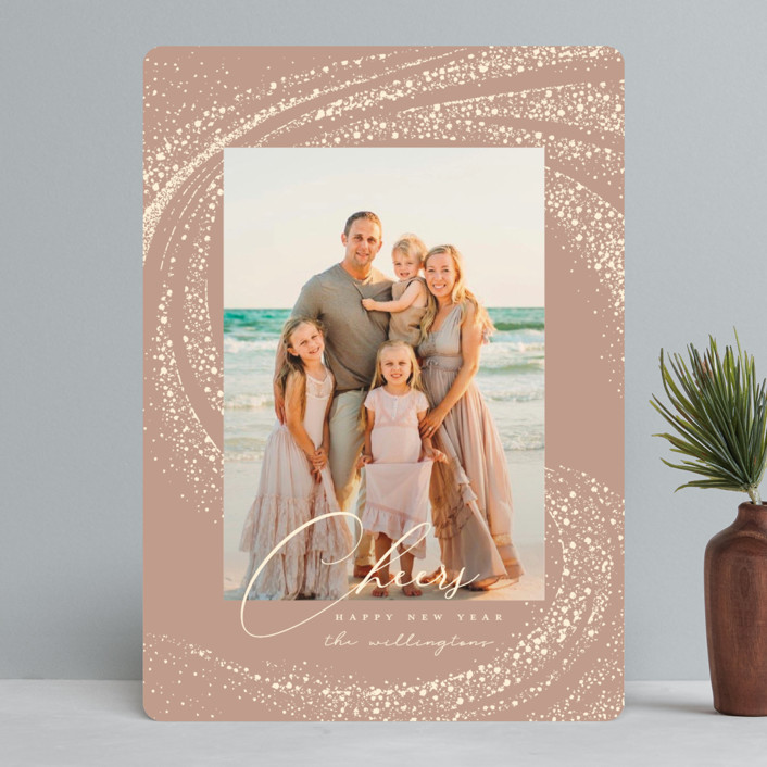 """""""Cheer Rays"""" - Bohemian New Year Photo Cards in Blush by Vivian Yiwing."""