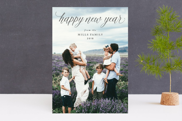 """HAPPY"" - New Year Photo Cards in Dove by Owl and Toad."