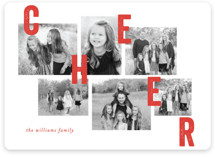 This is a red new year photo card by Bethan called Collaged Merry with standard printing on smooth signature in standard.
