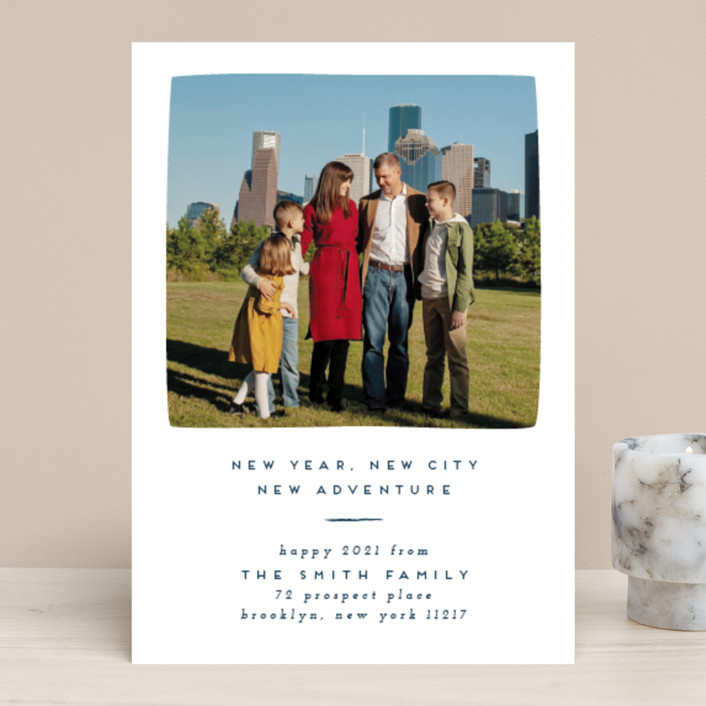 """Simple New Adventure"" - New Year Photo Cards in Ochre by Julie Murray."