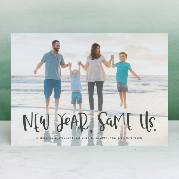 """""""New Year, Same Us"""" - Funny New Year Photo Cards in Frost by Olivia Goree."""