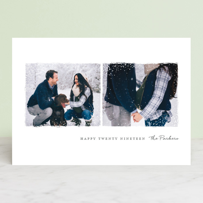 """""""Snowy Frames"""" - New Year Photo Cards in Slate by Jessica Maslyn."""