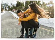 This is a green new year photo card by Penguin Creative called sweet and classic with standard printing on smooth signature in standard.