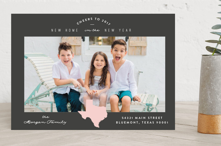 """Classic Move"" - Destination New Year Photo Cards in Blush by Owl and Toad."