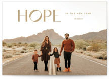This is a brown new year photo card by Annie Clark called Hope Renewed with standard printing on smooth signature in standard.