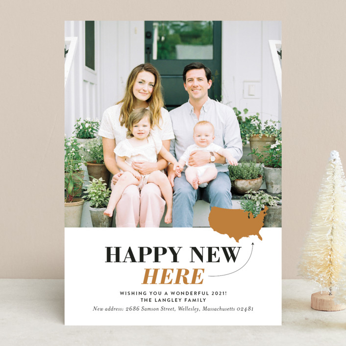"""""""Happy New Here"""" - New Year Photo Cards in Golden by Shari Margolin."""