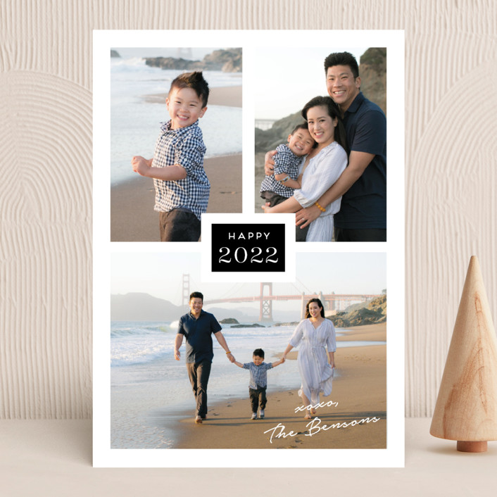 """""""Tres"""" - New Year Photo Cards in Obsidian by Kaydi Bishop."""