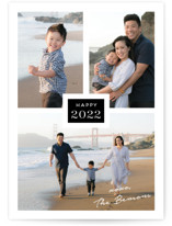 This is a black new year photo card by Kaydi Bishop called Tres with standard printing on smooth signature in standard.