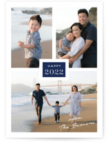 This is a blue new year photo card by Kaydi Bishop called Tres with standard printing on smooth signature in standard.