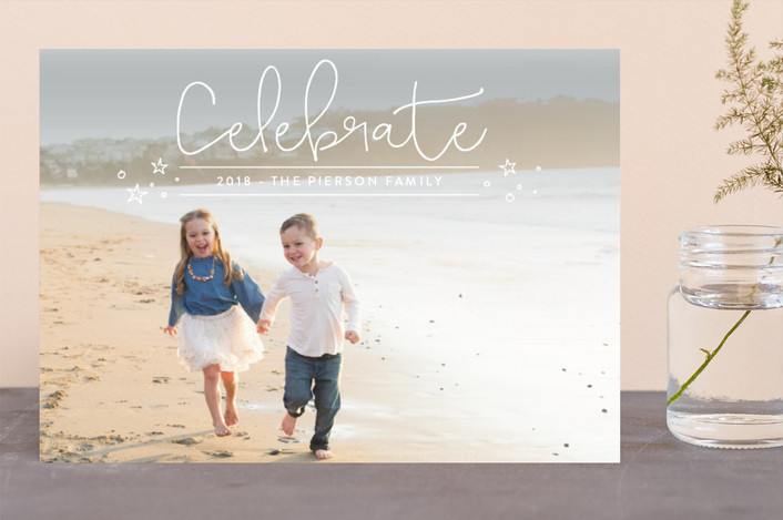 """""""a dash of fun"""" - New Year Photo Cards in Cotton by Erin Deegan."""