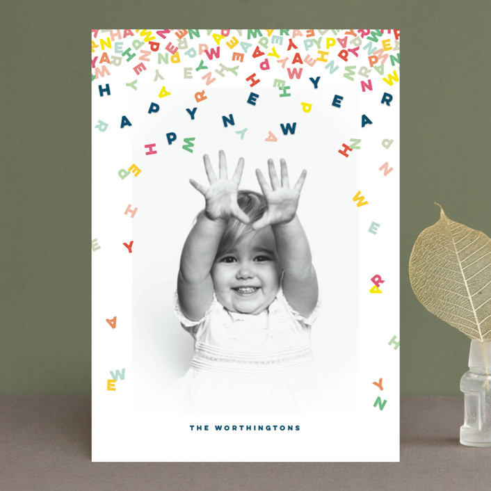 """""""Happy Confetti Letters"""" - Modern New Year Photo Cards in Milk by fatfatin."""