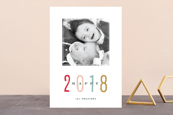 """Marker"" - New Year Photo Cards in Peppermint by Carrie ONeal."