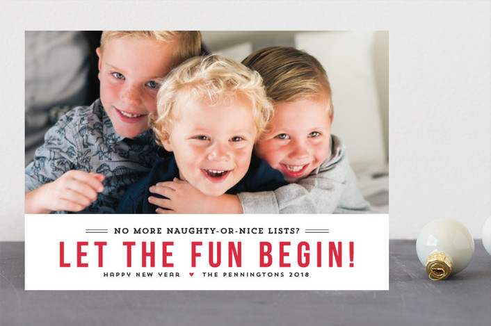 """Fun Begins"" - Funny New Year Photo Cards in Berry by Susan Brown."