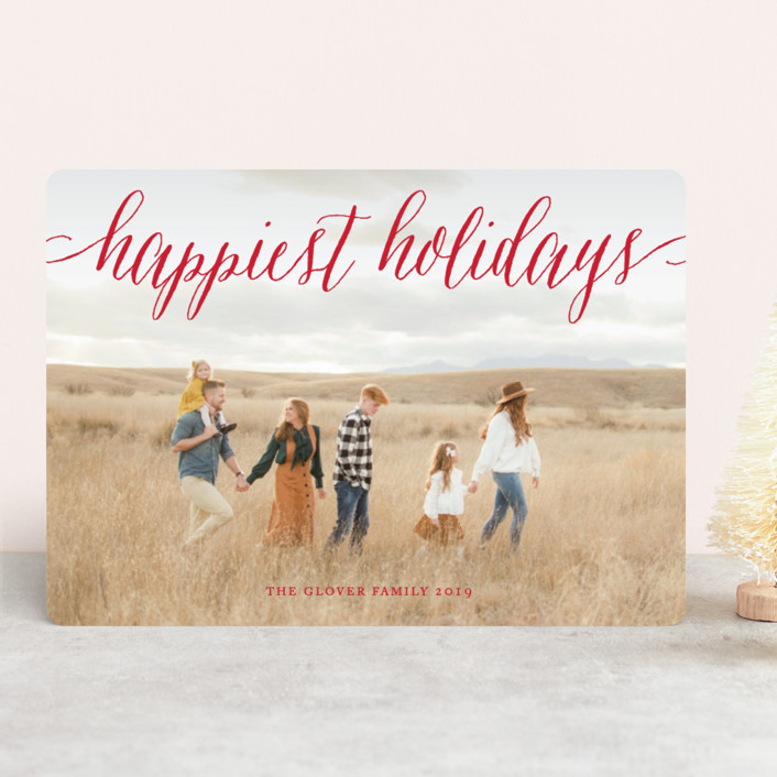 """""""Pure Happy"""" - New Year Photo Cards in Cherry by Alston Wise."""