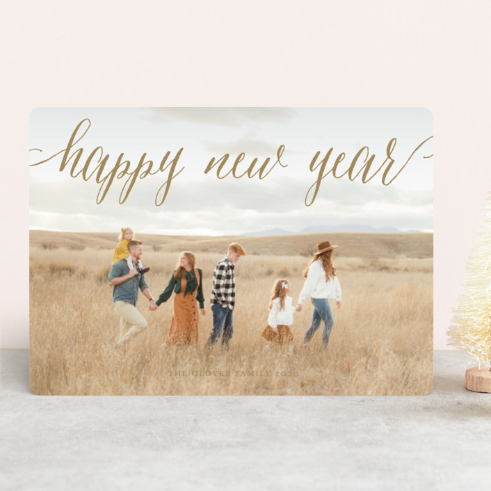 """Pure Happy"" - New Year Photo Cards in Champagne by Alston Wise."