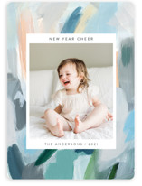 This is a colorful new year photo card by Nicole Walsh called Paint Palette Cheer with standard printing on smooth signature in standard.